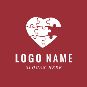 White Heart Jigsaw Puzzle logo design