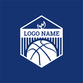 White Hexagon and Basketball logo design