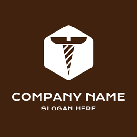 White Hexagon and Brown Screw logo design