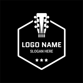 White Hexagon and Half Guitar logo design