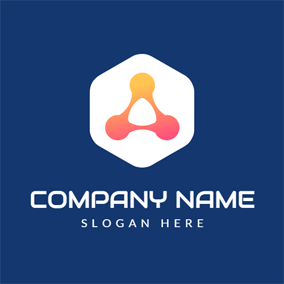 White Hexagon and Orange Triangle logo design