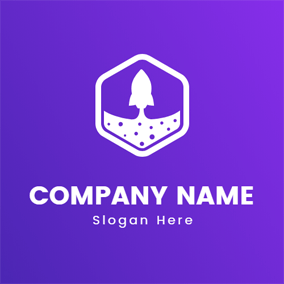 White Hexagon and Rocket logo design
