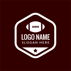 White Hexagon and Rugby logo design