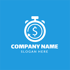 White Horologe and Dollar Sign logo design