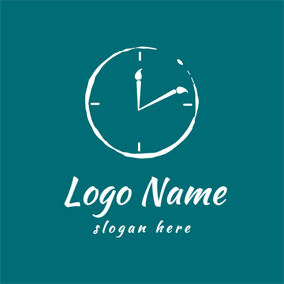 White Horologe and Pen logo design