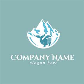 White Iceberg and Blue Whale logo design