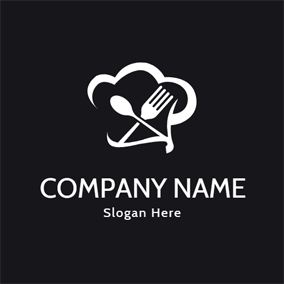 White Knife and Fork logo design
