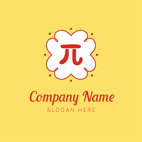 White Lacework and Red Pi logo design