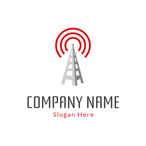 White Ladder and Red Signal logo design