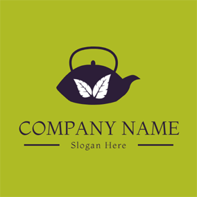White Leaf and Black Teapot logo design