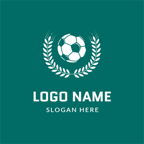 White Leaf and Green Football logo design