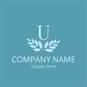 White Leaf and Letter U logo design