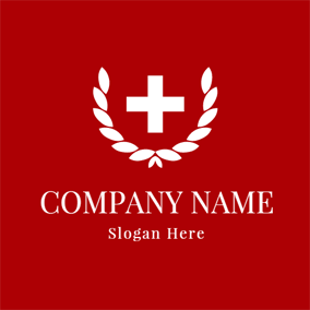 White Leaf and Red Cross logo design