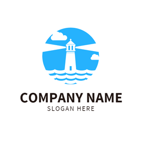 White Lighthouse and Blue Sky logo design