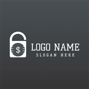 White Lock and Gray Dollar logo design