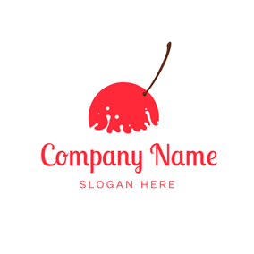 White Milk and Red Cherry logo design