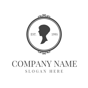 White Mirror and Black Portrait logo design