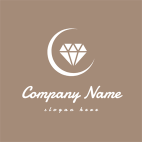 White Moon and Diamond logo design