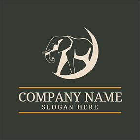 White Moon and Elephant logo design