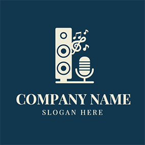 White Note and Microphone Icon logo design