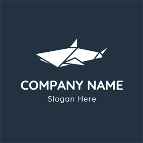White Origami and Shark logo design