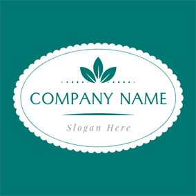 White Oval and Green Leaf logo design