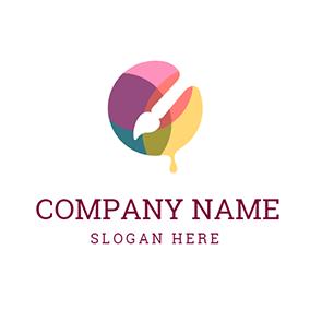 white paintbrush and colorful paint logo design