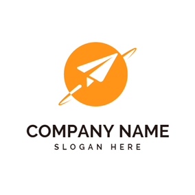 White Paper Airplane and Orange Earth logo design