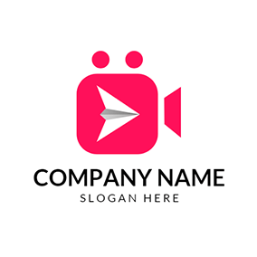 White Paper Plane and Red Video logo design