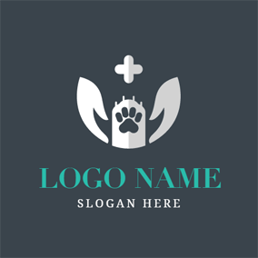 White Paw and Cross logo design