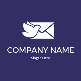 White Pigeon and Envelope logo design