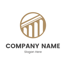 White Pillar and Circle logo design
