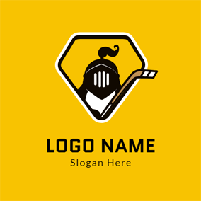White Polygon and Black Helmet logo design
