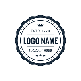 White Postmark With Black Lace logo design