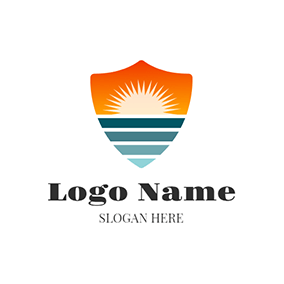 White Radiance and Orange Shield logo design