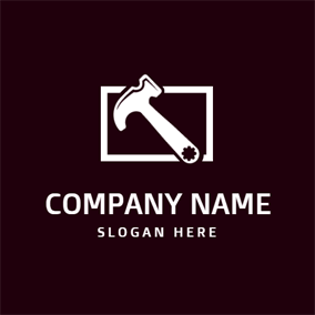 White Rectangle and Hammer logo design