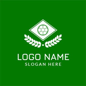 White Rhombus and Green Soccer logo design
