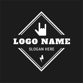 White Rhombus and Hand logo design