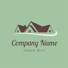 White and Orange Cottages · White Road and Brown House logo design