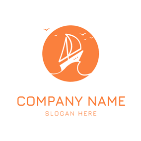 White Sailboat and Orange Seafowl logo design
