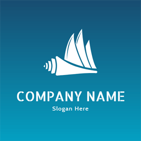 White Sailboat and Shell logo design
