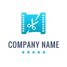 White Scissor and Blue Film logo design