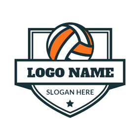 White Shield and Orange Volleyball logo design