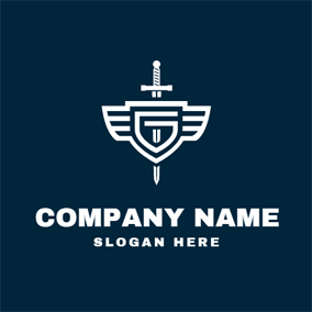 White Shield and Sword logo design