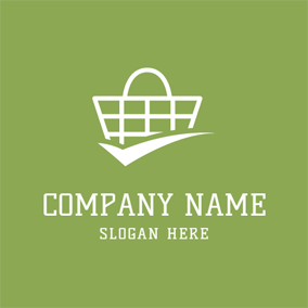 White Shopping Basket logo design