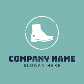 White Short Boot logo design