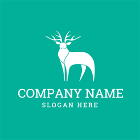 White Sika Deer Icon logo design