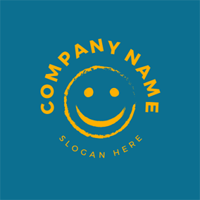 White Smile Face Icon logo design