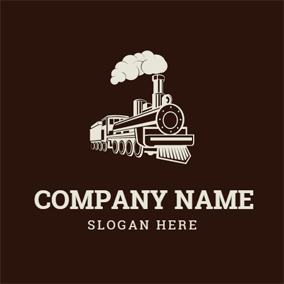 White Smoke and Brown Train logo design