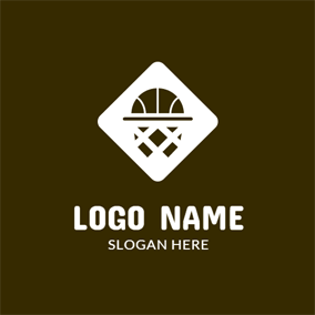 White Square and Abstract Basketball logo design